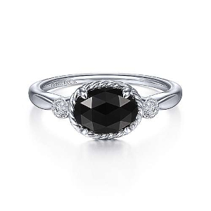 Onyx and Diamond ring by Gabriel & Co