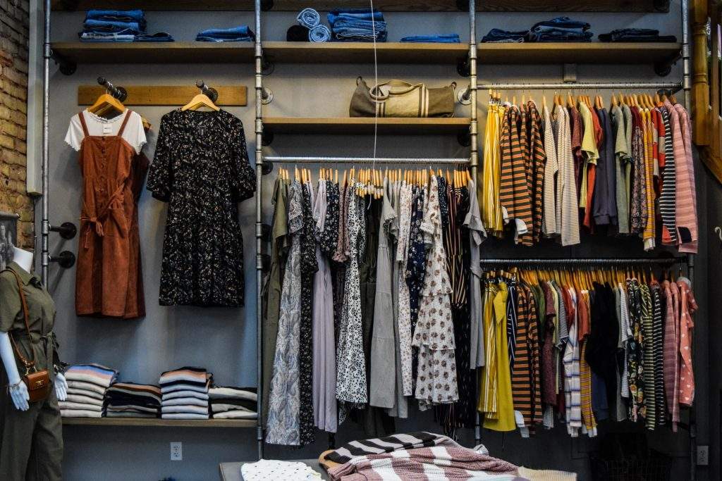 Closet with clothes hanging