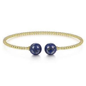 Gold Bangle With Lapis Lazuli Beads