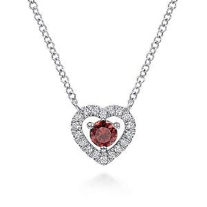 White Gold Round Garnet and Diamond Heart Pendant Necklace