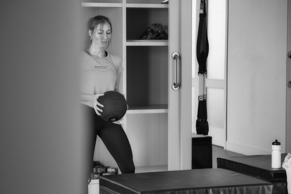 Cougar woman working out
